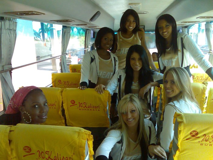 in the bus with the dancers